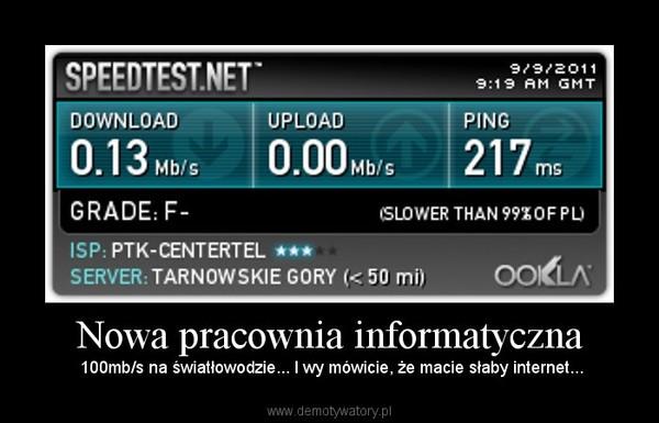 Nowa pracownia informatyczna – 100mb/s na światłowodzie... I wy mówicie, że macie słaby internet...