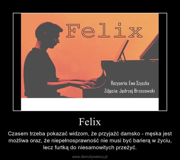 Felix – Czasem trzeba pokazać widzom, że przyjaźć damsko - męska jest możliwa oraz, że niepełnosprawność nie musi być barierą w życiu, lecz furtką do niesamowitych przeżyć.