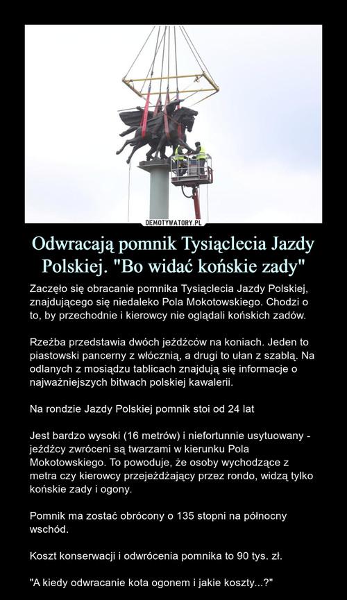 """Odwracają pomnik Tysiąclecia Jazdy Polskiej. """"Bo widać końskie zady"""""""