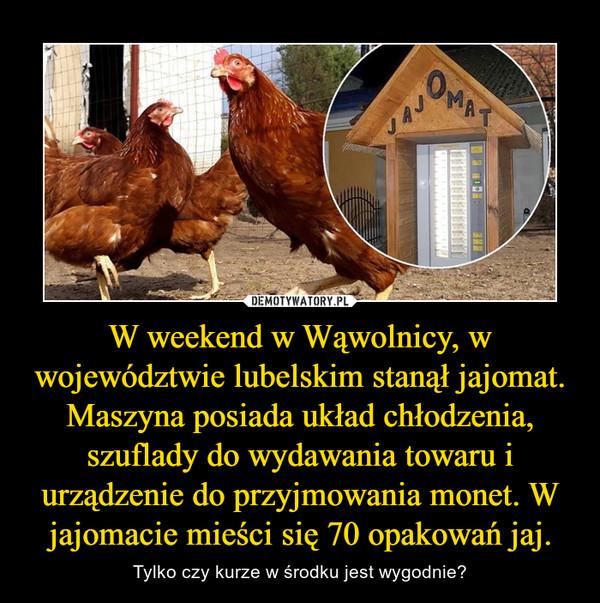 W weekend w Wąwolnicy, w województwie lubelskim stanął jajomat. Maszyna posiada układ chłodzenia, szuflady do wydawania towaru i urządzenie do przyjmowania monet. W jajomacie mieści się 70 opakowań jaj. – Tylko czy kurze w środku jest wygodnie?