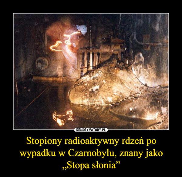 """Stopiony radioaktywny rdzeń po wypadku w Czarnobylu, znany jako """"Stopa słonia"""" –"""