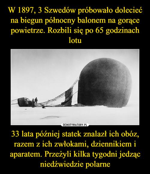 W 1897, 3 Szwedów próbowało dolecieć na biegun północny balonem na gorące powietrze. Rozbili się po 65 godzinach lotu 33 lata później statek znalazł ich obóz, razem z ich zwłokami, dziennikiem i aparatem. Przeżyli kilka tygodni jedząc niedźwiedzie polarne