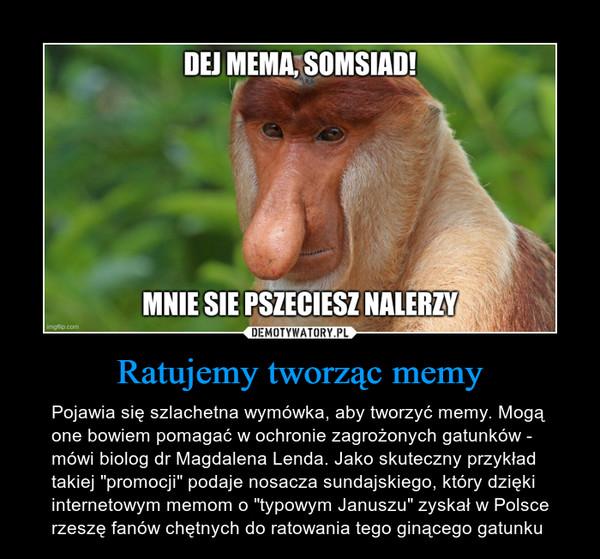 """Ratujemy tworząc memy – Pojawia się szlachetna wymówka, aby tworzyć memy. Mogą one bowiem pomagać w ochronie zagrożonych gatunków - mówi biolog dr Magdalena Lenda. Jako skuteczny przykład takiej """"promocji"""" podaje nosacza sundajskiego, który dzięki internetowym memom o """"typowym Januszu"""" zyskał w Polsce rzeszę fanów chętnych do ratowania tego ginącego gatunku DEJ MEMA, SOMSIADMNIE SIE PRZECIESZ NALERZY"""