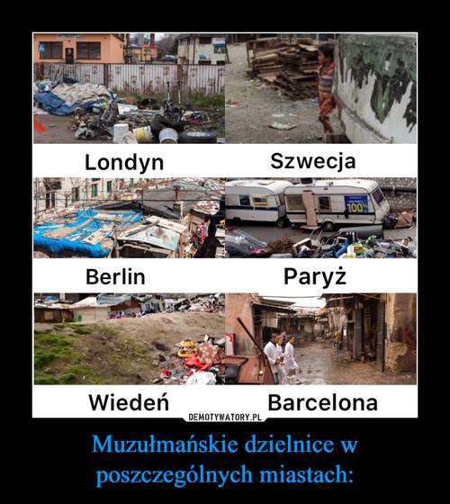 Muzułmańskie dzielnice w poszczególnych miastach: