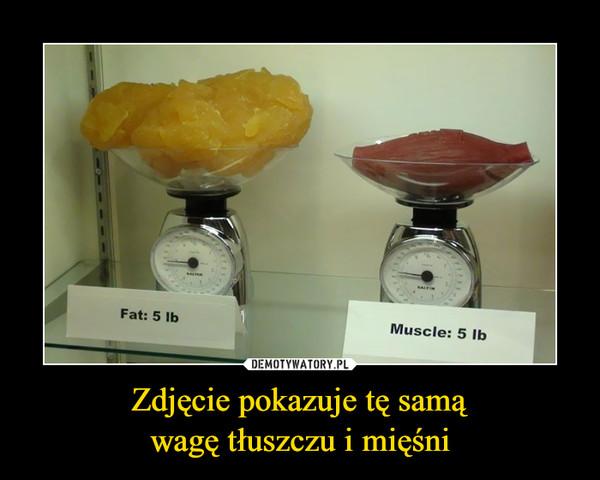 Zdjęcie pokazuje tę samąwagę tłuszczu i mięśni –