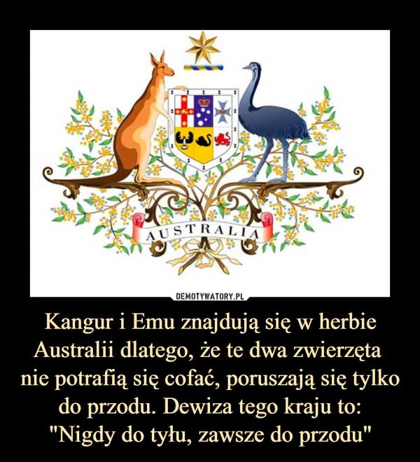 """Kangur i Emu znajdują się w herbie Australii dlatego, że te dwa zwierzęta nie potrafią się cofać, poruszają się tylkodo przodu. Dewiza tego kraju to:""""Nigdy do tyłu, zawsze do przodu"""" –"""