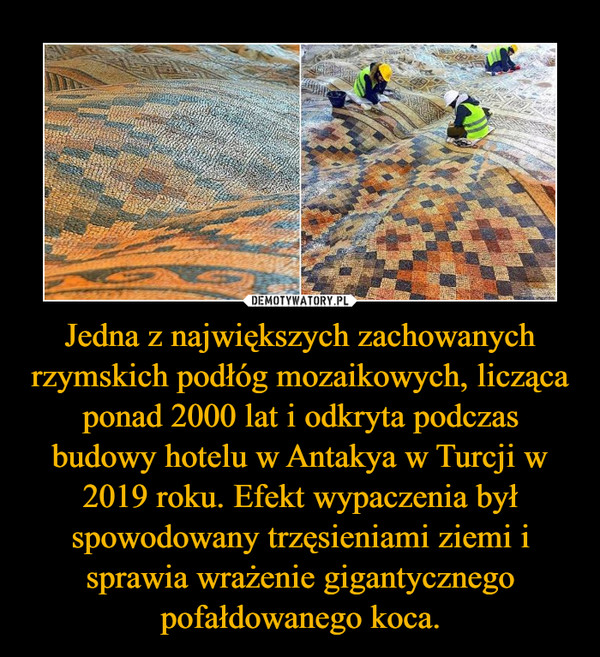 Jedna z największych zachowanych rzymskich podłóg mozaikowych, licząca ponad 2000 lat i odkryta podczas budowy hotelu w Antakya w Turcji w 2019 roku. Efekt wypaczenia był spowodowany trzęsieniami ziemi i sprawia wrażenie gigantycznego pofałdowanego koca. –