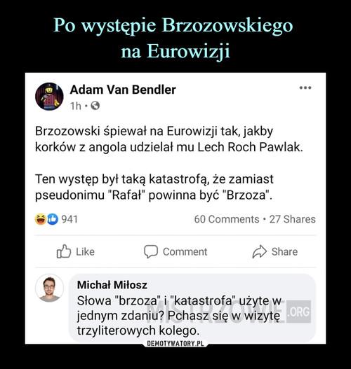 Po występie Brzozowskiego  na Eurowizji