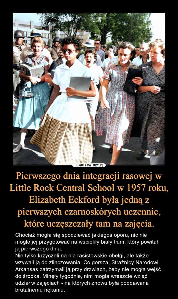 Pierwszego dnia integracji rasowej w Little Rock Central School w 1957 roku, Elizabeth Eckford była jedną z pierwszych czarnoskórych uczennic, które uczęszczały tam na zajęcia. – Chociaż mogła się spodziewać jakiegoś oporu, nic nie mogło jej przygotować na wściekły biały tłum, który powitał ją pierwszego dnia.Nie tylko krzyczeli na nią rasistowskie obelgi, ale także wzywali ją do zlinczowania. Co gorsza, Strażnicy Narodowi Arkansas zatrzymali ją przy drzwiach, żeby nie mogła wejść do środka. Minęły tygodnie, nim mogła wreszcie wziąć udział w zajęciach - na których znowu była poddawana brutalnemu nękaniu.