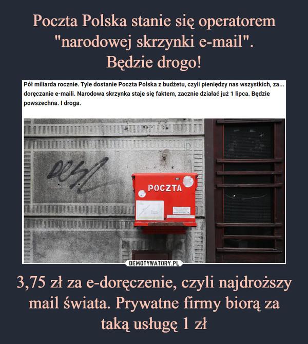 3,75 zł za e-doręczenie, czyli najdroższy mail świata. Prywatne firmy biorą za taką usługę 1 zł –
