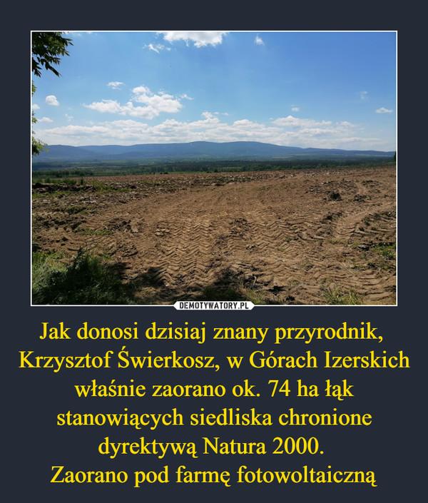 Jak donosi dzisiaj znany przyrodnik, Krzysztof Świerkosz, w Górach Izerskich właśnie zaorano ok. 74 ha łąk stanowiących siedliska chronione dyrektywą Natura 2000. Zaorano pod farmę fotowoltaiczną –