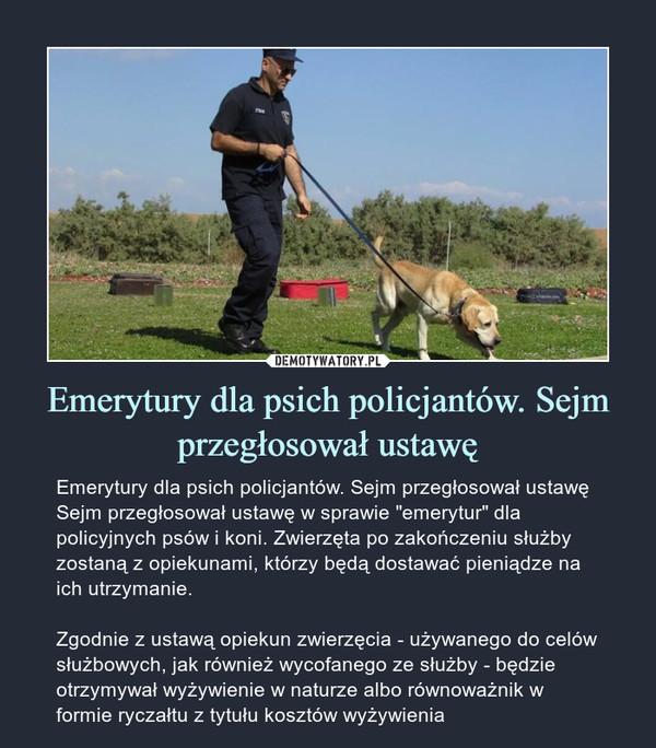 """Emerytury dla psich policjantów. Sejm przegłosował ustawę – Emerytury dla psich policjantów. Sejm przegłosował ustawę Sejm przegłosował ustawę w sprawie """"emerytur"""" dla policyjnych psów i koni. Zwierzęta po zakończeniu służby zostaną z opiekunami, którzy będą dostawać pieniądze na ich utrzymanie.Zgodnie z ustawą opiekun zwierzęcia - używanego do celów służbowych, jak również wycofanego ze służby - będzie otrzymywał wyżywienie w naturze albo równoważnik w formie ryczałtu z tytułu kosztów wyżywienia"""
