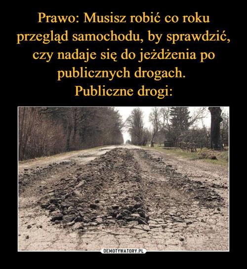 Prawo: Musisz robić co roku przegląd samochodu, by sprawdzić, czy nadaje się do jeżdżenia po publicznych drogach.  Publiczne drogi: