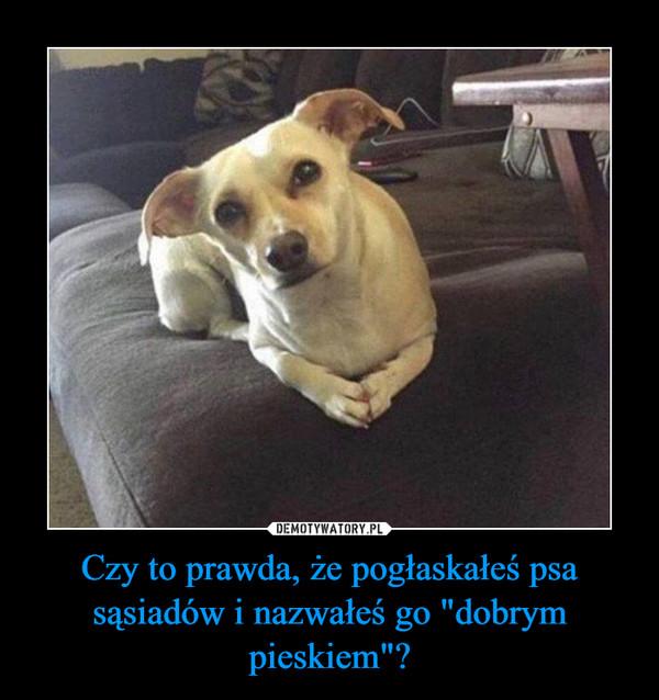 """Czy to prawda, że pogłaskałeś psa sąsiadów i nazwałeś go """"dobrym pieskiem""""? –"""