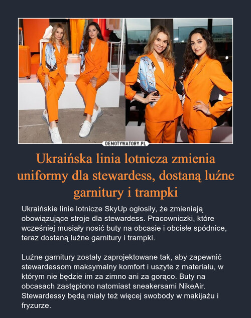 Ukraińska linia lotnicza zmienia uniformy dla stewardess, dostaną luźne garnitury i trampki
