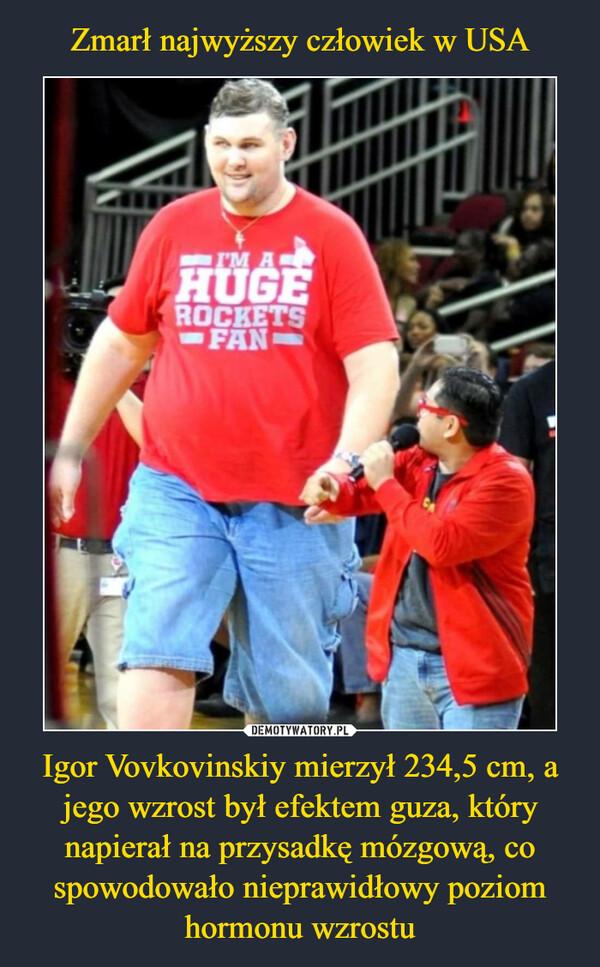 Igor Vovkovinskiy mierzył 234,5 cm, a jego wzrost był efektem guza, który napierał na przysadkę mózgową, co spowodowało nieprawidłowy poziom hormonu wzrostu –