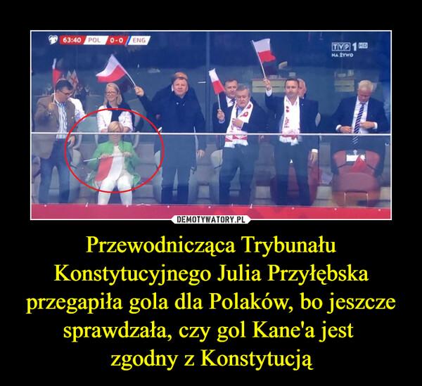 Przewodnicząca Trybunału Konstytucyjnego Julia Przyłębska przegapiła gola dla Polaków, bo jeszcze sprawdzała, czy gol Kane'a jest zgodny z Konstytucją –
