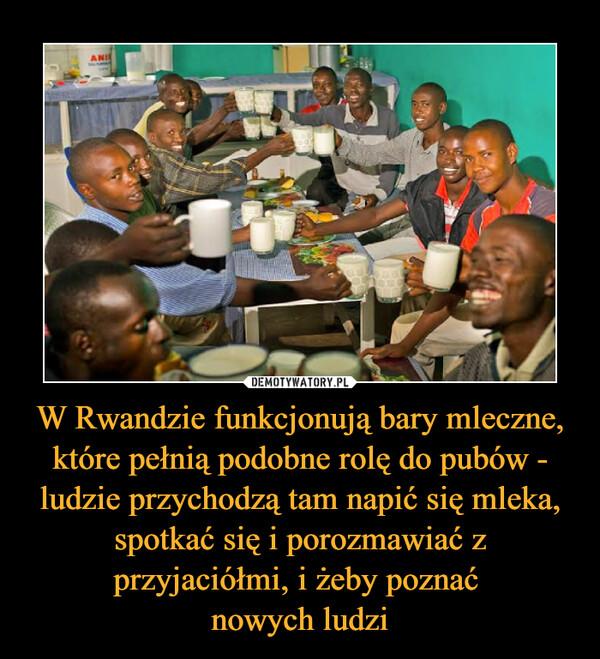W Rwandzie funkcjonują bary mleczne, które pełnią podobne rolę do pubów - ludzie przychodzą tam napić się mleka, spotkać się i porozmawiać z przyjaciółmi, i żeby poznać nowych ludzi –