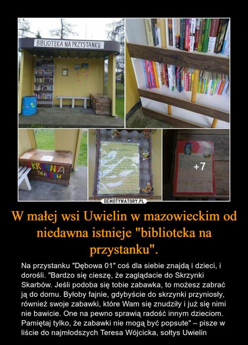 """W małej wsi Uwielin w mazowieckim od niedawna istnieje """"biblioteka na przystanku""""."""