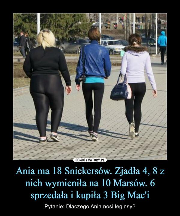 Ania ma 18 Snickersów. Zjadła 4, 8 z nich wymieniła na 10 Marsów. 6 sprzedała i kupiła 3 Big Mac'i – Pytanie: Dlaczego Ania nosi leginsy?